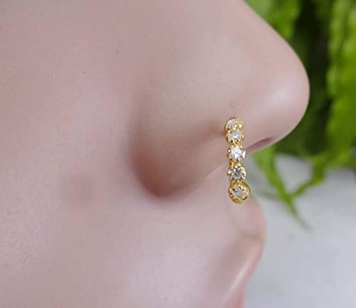 Amazon Com Gift For Her Diamond Nose Stud Gold Nose Ring White