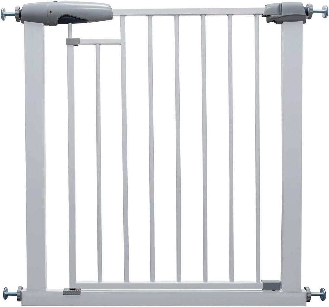 Callowesse® FREEDOM 76-83cm - Barrera de Seguridad Bebés/Niños/Perros para Puertas y Escaleras. Cierres Magnéticos Innovadores. Altura: 76cm. Cierre Automático. Apertura a una Mano. (Blanco)