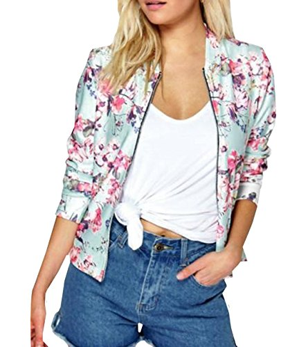 Lapiness Women's Bomber Jacket Quilted Floral Print Lightweight Short Casual Coat (Pink, XX-Large)