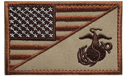 Usmc Military Patch - USA American Flag w/ Marine Corps USMC Military Tactical Morale Badge Patch (Brown)
