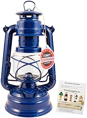 Feuerhand Hurricane Lantern – German Made Oil Lamp – 10 with Care Pack Blue