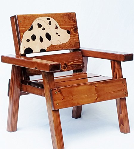 Kids Wooden Dalmatian Chair, Indoor / Outdoor Furniture, Heirloom Gift, Engraved and Painted Dog