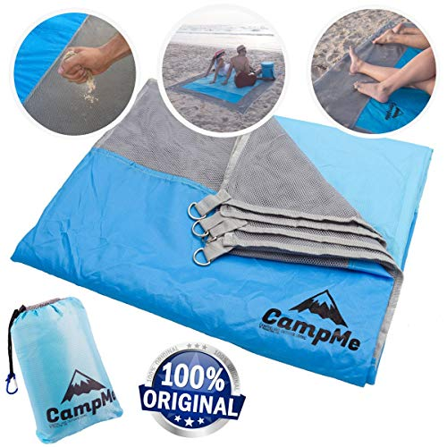Premium Sandmat And Waterproof Combined - Outdoor Beach Blanket Sand Free/Beach Towel/Picnic Blanket Waterproof And SandFree large Sand Proof, Fast Dry, Strong Nylon, 7.2' X 6.6', 4 Metal Stakes ()