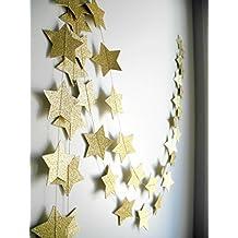 2-Pack,Gold star Garland, Golden Christmas galaxy banner, Twinkle Twinkle Little Star garland Christmas garland, Christmas decor, Gold Baby shower (4 inch in Diameter,13 Feet)