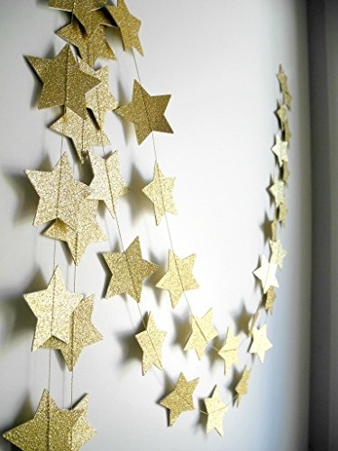 2-Pack,Gold star Garland, Golden Christmas galaxy banner, Twinkle Twinkle Little Star garland Christmas garland, Christmas decor, Gold Baby shower (4 inch in Diameter,13 Feet) Gold Star Garland