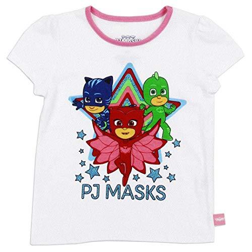 PJ Masks Toddler Little Girls Short Sleeve Graphic Shirt (White, 2T) ()