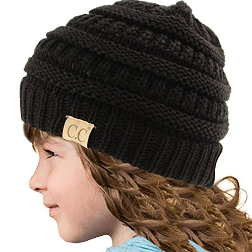 Kids CC Ages 2-7 Warm Chunky Thick Stretchy Knit Slouch Beanie Skull Hat Black