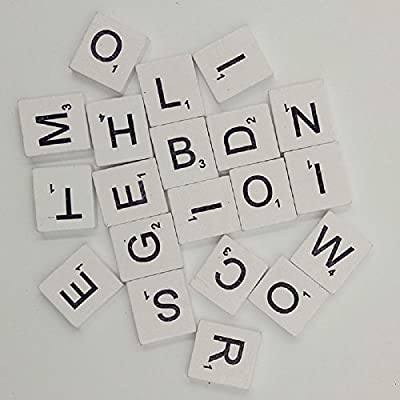 200pcs English Wood Letters A-Z Kids Learning Cognition Education Toy Games Scrabble Tiles Wood Craft Letters Word Tiles Wooden Letters Replacement Tiles Square Letter for Scrapbooking (White): Toys & Games