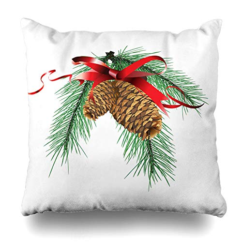 NOWCustom Throw Pillow Cover Present Christmas Design Red Ribbon Pine Cone Holidays Art Branch Tree Green Branches Fir Spruce Zippered Pillowcase Square Size 16 x 16 Inches Home Decor Cushion ()