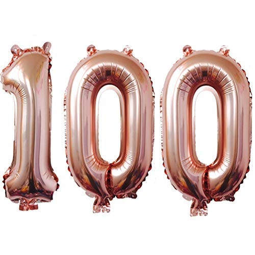 100th Birthday Balloons (KIYOOMY 40 in Number 100 Balloon Rose Gold Gaint Jumbo Foil Mylar Number Balloons for 100 Birthday Party Decorations (100, Rose)