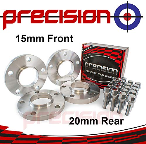Staggered Fitment Hubcentric Alloy Wheel Spacers 15mm/20mm + Bolts ƁMW 1 Series Part No. 2PHS4+2PHS5+10BM1740+10BM1745111 Precision
