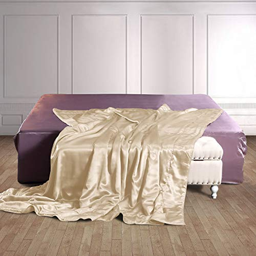THXSILK 100% Silk Throw Blanket for Bed/Couch Top Grade Long-Strand Silk Quilted Bedspread Soft & Cozy (Champagne, 53x70 inch) (Blanket Silk Throw)