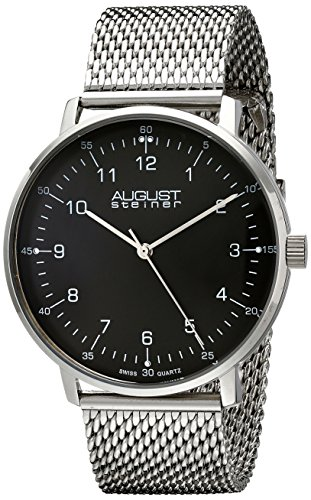 August Steiner Men's AS8091SSB Stainless Steel Watch with Black Dial and Mesh Bracelet