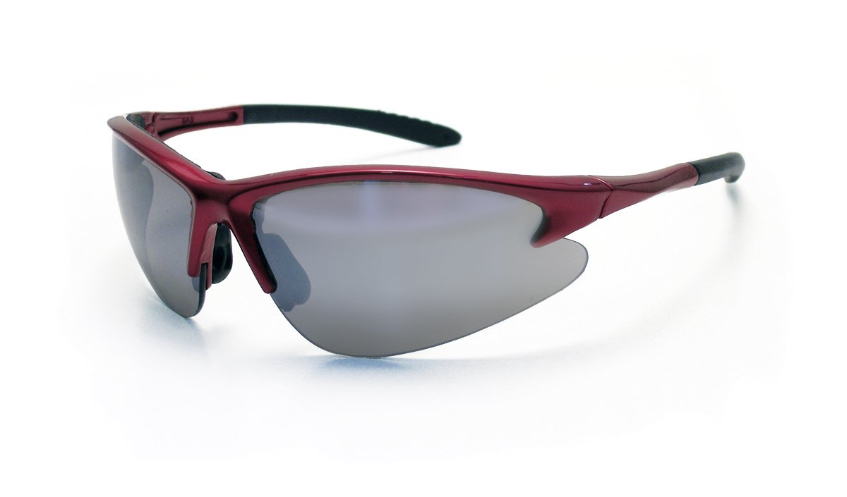 Mirror Lens//Red Frame SAS Safety Corp. SAS Safety 540-0413 DB2 Eyewear with Clamshell