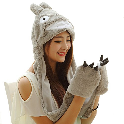 Cute Totoro Costumes (Funnie 21 Novelty Animal HAT Cosplay CAP - Unisex Fit Adult & Children- Soft Warm Headwraps Headwear with Mittens (Totoro))