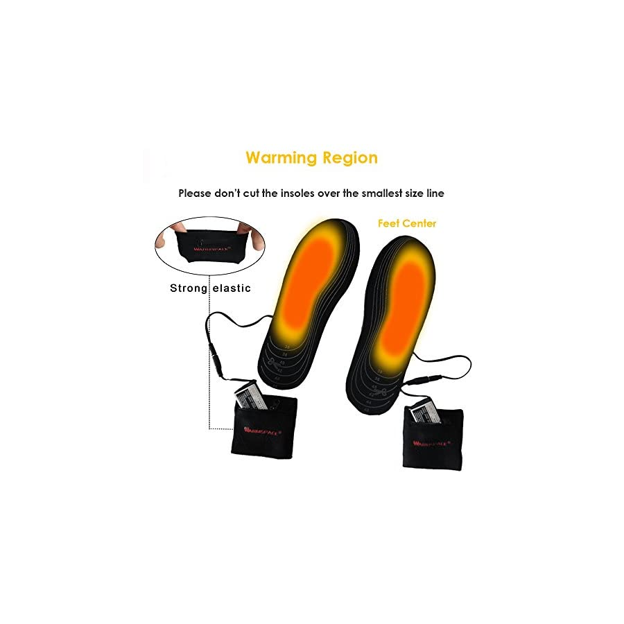 Heated Insoles, Sweet Mall Cut to Fit Multiple Sizes Unisex Flexible Rechargeable Heated Shoes Insoles Boot Mobile Foot Warmer for Hunting Fishing Hiking Camping