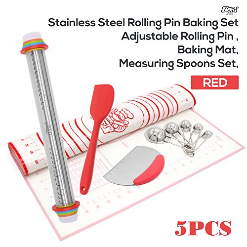 Rolling Pin Baking Supplies Stainless Steel Complete Set - Adjustable Pin with Removable Rings, Large Size Mat, Measuring Spoons Set, Scrappers(1 Silicone & 1 Dough Scraper with Measurements) - RED