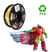 PLA 3D Printer Filament 1.75mm Rainbow Mulitcolor, Multicolored 3D Filament Dimensional Accuracy +/- 0.05 mm, 1kg Spool for 3D Printer and 3D Printing Pen by UCHOOSE