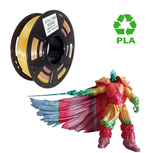 PLA 3D Printer Filament 1.75mm Rainbow Mulitcolor, Multicolored 3D Filament Dimensional Accuracy +/- 0.05 mm, 1kg Spool for 3D Printer and 3D Printing Pen
