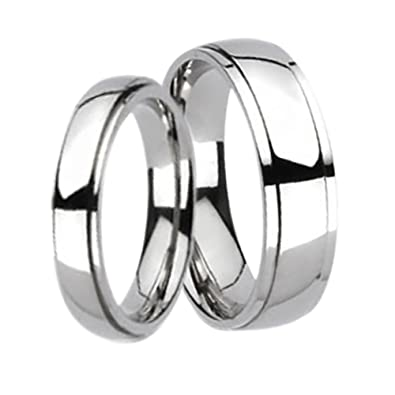 e1f429e8575837 Amazon.com: LaRaso & Co Titanium Matching His and Hers Wedding Bands Ring  Set for Him and Her Men Women: Jewelry
