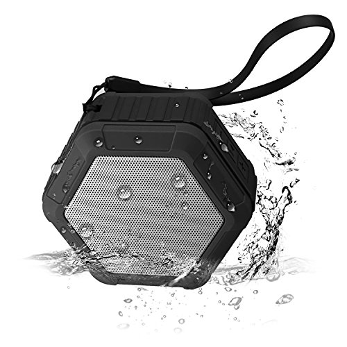 Portable Outdoor and Shower Bluetooth Speaker, IPX6 Waterproof Wireless Sport Speaker with 5W Enhanced Bass Stereo Sound Built in Mic, Hands-Free Speakerphone for iPhone, iPad, Samsung Tablets(Q5)