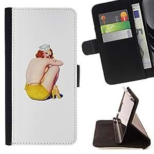 Momo Phone Case / Flip Funda de Cuero Case Cover - Arte Gris Amarillo Redhead Marinero - Samsung Galaxy S6 Active G890A