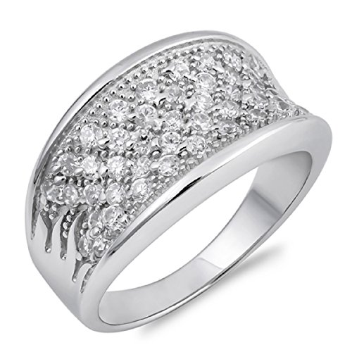 CloseoutWarehouse Cubic Zirconia Pave Concave Ring Sterling Silver Size 8