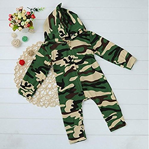 FansIn Newborn Baby Boys Girls Hooded Camouflage Romper Jumpsuit Clothes Outfit (0-3M)