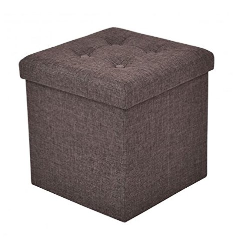 MD Group Ottoman Storage Seat Foldable Design Cube Brown Oxford High  Qaulity Furniture