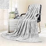 vanfan Throw Fuzzy Fleece Microfiber Blanket Islamic Art Inspired Oriental Turkish Lace Pattern Traditional Impression Image White,Silky Soft,Anti-Static,2 Ply Thick Blanket. (90''x90'')