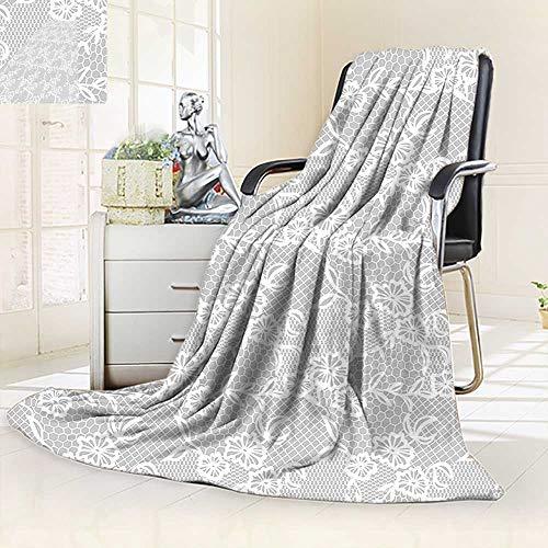 vanfan Throw Fuzzy Fleece Microfiber Blanket Islamic Art Inspired Oriental Turkish Lace Pattern Traditional Impression Image White,Silky Soft,Anti-Static,2 Ply Thick Blanket. (90''x90'') by vanfan