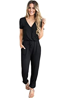 38707eb816f Cinyifaan Women s V Neck Casual Loose Long Jumpsuits Romper Playsuit with  Belt