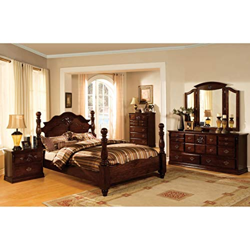 Furniture of America Weston Traditional 4-Piece Glossy Dark Pine Poster Bedroom Set Queen