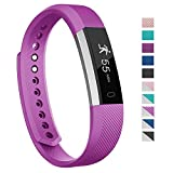 Fitness Tracker, 007plus D115 Concise Style Point Touch Activity Tracker (Purple/Silver)