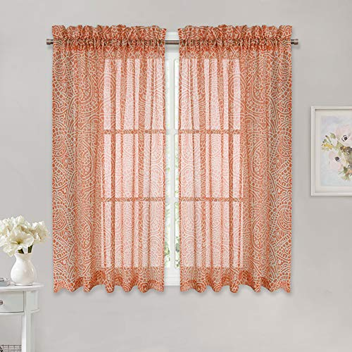 Blinds Filtering Light Orange (RYB HOME Paisley Pattern Texture Sheer Curtains for Interior Window Space Light Filtering Open Weave Privacy Protection Voile Drapes for Bedroom/Bathroom,Coral Orange, 52