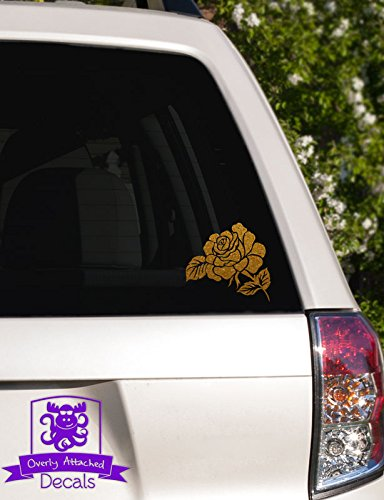 "Overly Attached Decals Delicate Rose Vinyl Car Decal - 10"" Gold Metallic"