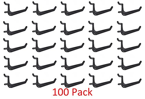 100 Pack Of JUMBO Pegboard Hooks Black Garage Tools Hammer Air Tool Storage Organization Jewelry by JSP Manufacturing