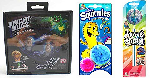 Nowstalgic Magic Toys Bundle: 1 Bright Bugz Evolution, 1 Hippie Stick, 1 Squirmel (Bugs Whirly)