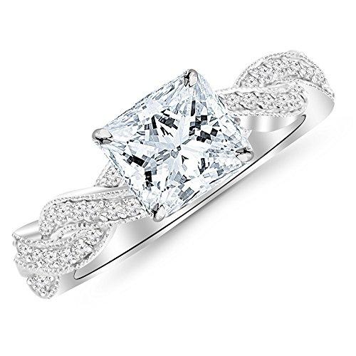 14K White Gold 079 CTW Vintage Eternity Love Twisting Split Shank Diamond Engagement Ring With Milgrain w/ 051 Ct GIA Certified Princess Cut F Color VVS1 Clarity Center