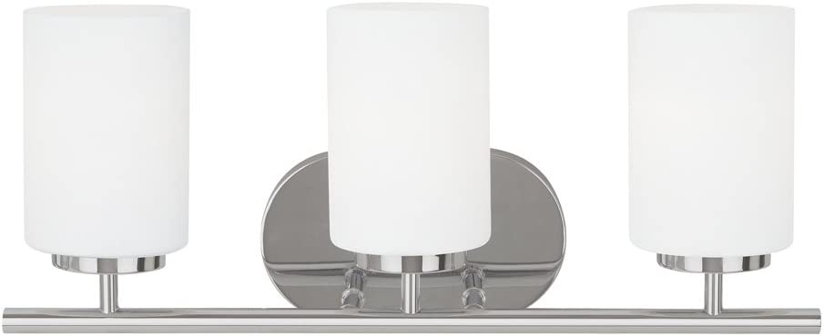 Sea Gull Lighting 41162-05 Oslo Three-Light Bath or Wall Light Fixture with Cased Opal Etched Glass Shades, Chrome Finish