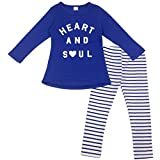 Jastore Baby Girls 2 Piece Set Blue Long Sleeve T-Shirt and Stripes Leggings (5T)