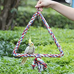 Kintor Big Triangle Rope Swing Bird TOY Parrot Cage Toys Cages Conure African Grey