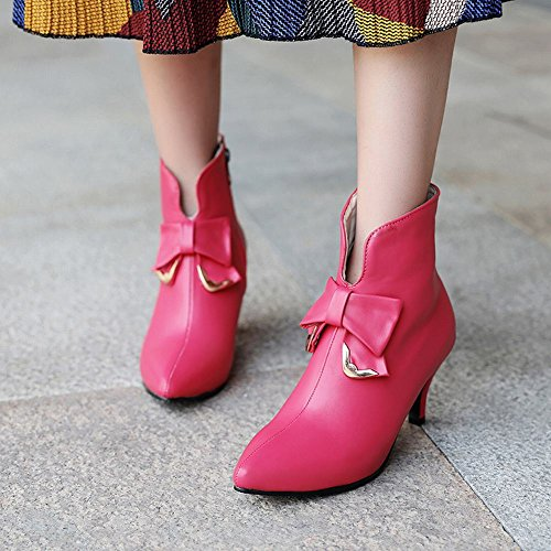 Heel Pointed Mid Fashion Bows Boots Red Zipper Women's Ankle Foot Rose Toe Charm SOqI8C