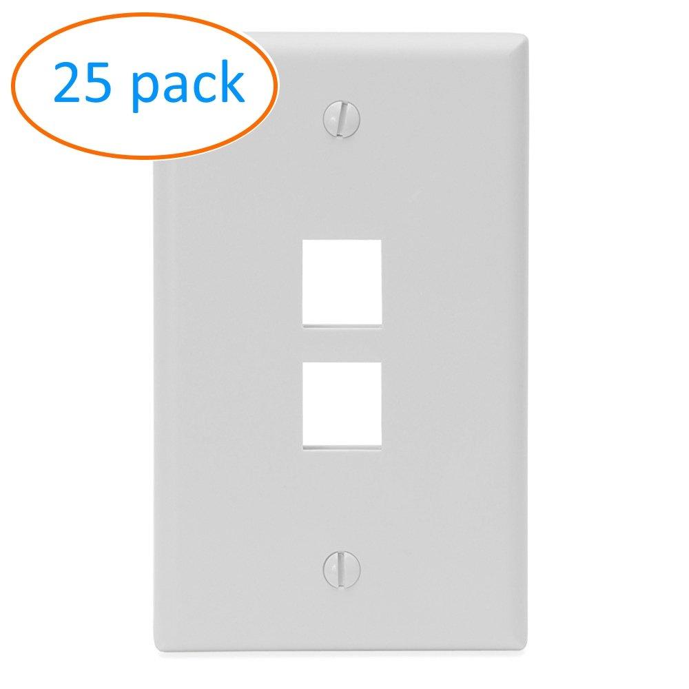 Kenuco White Keystone Wall Plate | Pack of 25 | 2 Port