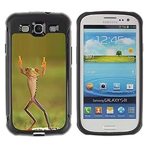 LASTONE PHONE CASE / Suave Silicona Caso Carcasa de Caucho Funda para Samsung Galaxy S3 I9300 / frog happy dancing tropical green ninja