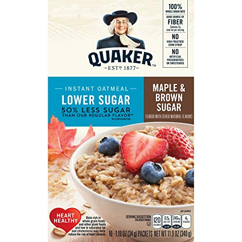 (Quaker Oats Lower Sugar Instant Oatmeal, Maple and Brown Sugar, 11.9 Ounce)