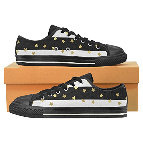 InterestPrint Canvas Glittering Stars for Shoes On Skulls Classic Men Slip Gold qRUHRP