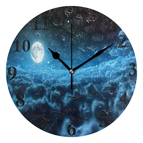 Wall Clock Fantasy Starry Sky Moon Nature Round Hanging Clock Acrylic Battery Operated Wall Clocks for Home Decor Creative ()