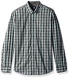 Cutter & Buck Men's Big and Tall Medium Plaid and Check Easy Care Button Down Collared Shirts, Aquastone Blue Davis Plaid, XLT