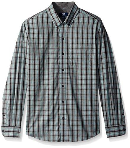Cutter & Buck Men's Medium Plaid and Check Easy Care Button Down Collared Shirts, Aquastone Blue Davis, Small Blue Check Pinpoint Dress Shirt